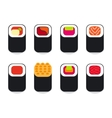 Japanese food sushi icons set vector image