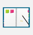 open blank note book with some stickies and pencil vector image