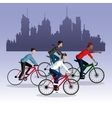 people young riding bycicle city background vector image