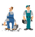 professionale and noprofessionale plumber vector image