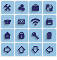 Set of Light Blue Flat Style Square Buttons vector image