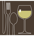 Wineglass and cutlery vector image vector image
