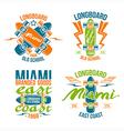 Longboard retro emblems vector image