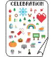 pixel celebrations vector image vector image