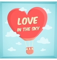 Valentines poster with hot air balloon in sky vector image
