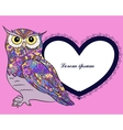 Background with owl and heart shape banner vector image