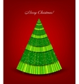 Christmas red background with green tree vector image