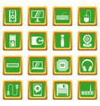 computer icons set green vector image