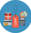 Discount concept Flat design Icon in blue circle vector image