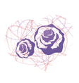heart consist of blue roses vector image