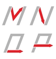 M N O P letters vector image