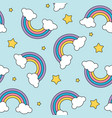 Pastel rainbow and stars seamless pattern on blue vector image