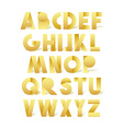 Retro font in gold Golden alphabet Realistic vector image