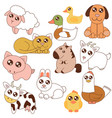cute farm animals set in vector image