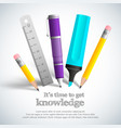 school stationery composition vector image