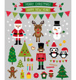 Christmas characters and design elements se vector image