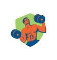 Strongman Crossfit Lifting Dumbbells Shield Retro vector image vector image