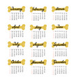 calendar from sunday to saturday for 2018 the year vector image