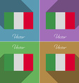 Flags Italy Set of colors flat design and long vector image