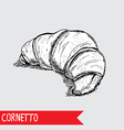 hand drawn croissant vector image