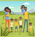 happy black family with many children on nature vector image