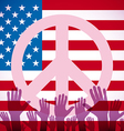 long USA flag icon with peace sign vector image