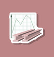 paper sticker on stylish background falling graph vector image