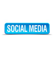 Social media blue 3d realistic square isolated vector image