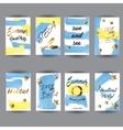 Summer hand drawn card posters set vector image
