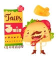 Funny taco character playing guitar special offer vector image