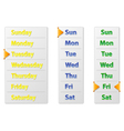 Set Abstract Weekly Calendars With Arrow Pointer vector image vector image
