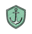 emblem with anchor icon vector image