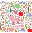 Girls birthday pink seamless pattern with animals vector image