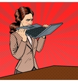 Stressed Business Woman Biting Laptop vector image