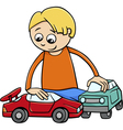 boy with toy cars cartoon vector image