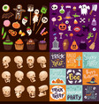 halloween night creepy symbols icons vector image