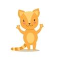 Little Girly Cute Red Kitten Stansing Cartoon Pet vector image