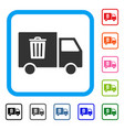 rubbish transport van framed icon vector image
