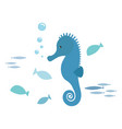 seahorse and fishes vector image