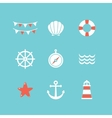 set of 9 flat sea elements vector image