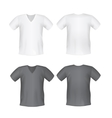 White black mens t-shirt short front back views vector image