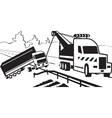 Tractor pulls on road crashed truck vector image