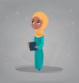 Arab girl hold books small cartoon pupil muslim vector image