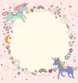 magical rainbow unicorn wreath circle template vector image