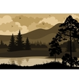 Landscape Trees Mountains and River vector image
