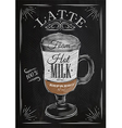 Poster latte chalk vector image vector image
