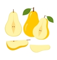Ripe Juicy Pear Fruit and Slices on a White vector image