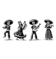Day of the Dead The skeleton in Mexican national vector image