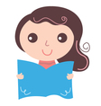 Girl with text book isolate on white vector image
