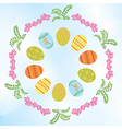 light blue background with easter eggs and flowers vector image